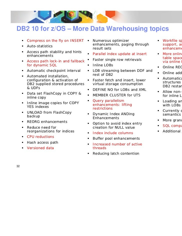 Db2 for z os update data warehousing on system z for Table th ou tr
