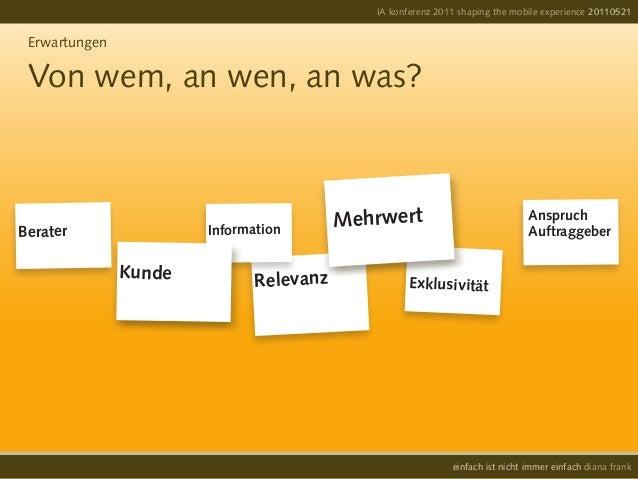 IA konferenz 2011 shaping the mobile experience 20110521einfach ist nicht immer einfach diana frankErwartungenVon wem, an ...