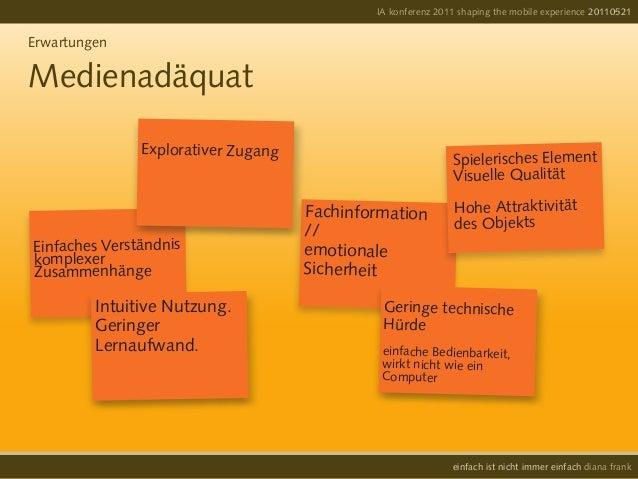 IA konferenz 2011 shaping the mobile experience 20110521einfach ist nicht immer einfach diana frankErwartungenMedienadäqua...