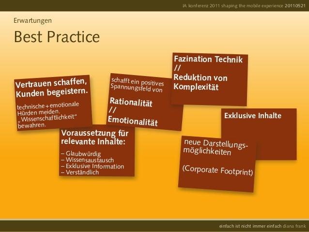 IA konferenz 2011 shaping the mobile experience 20110521einfach ist nicht immer einfach diana frankErwartungenBest Practic...