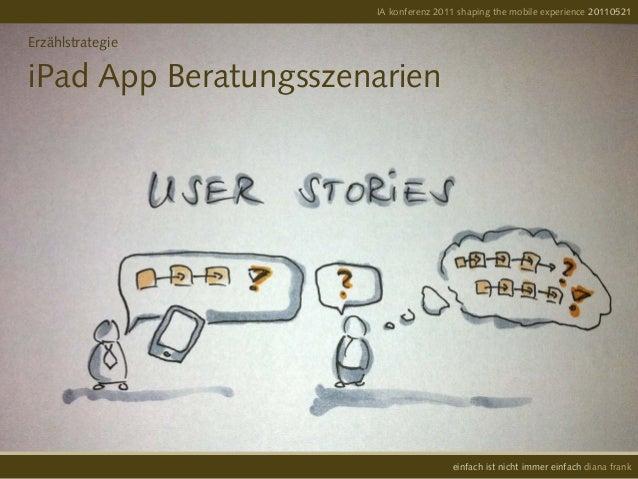 ErzählstrategieiPad App BeratungsszenarienIA konferenz 2011 shaping the mobile experience 20110521einfach ist nicht immer ...