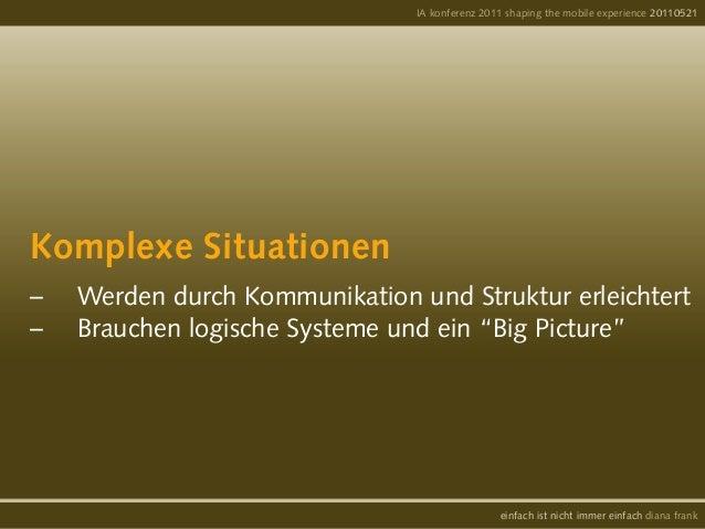 """Komplexe Situationen– Werden durch Kommunikation und Struktur erleichtert– Brauchen logische Systeme und ein """"Big Pictur..."""