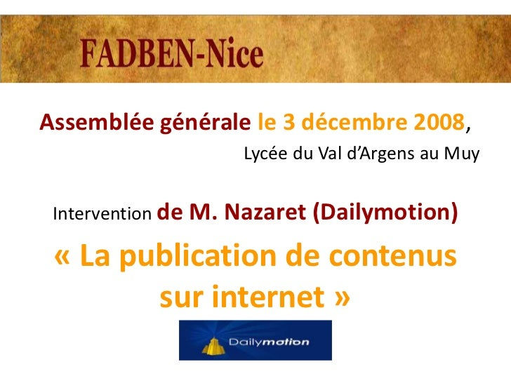 Assemblée générale le 3 décembre 2008,                   Lycée du Val d'Argens au Muy Intervention de M. Nazaret (Dailymot...