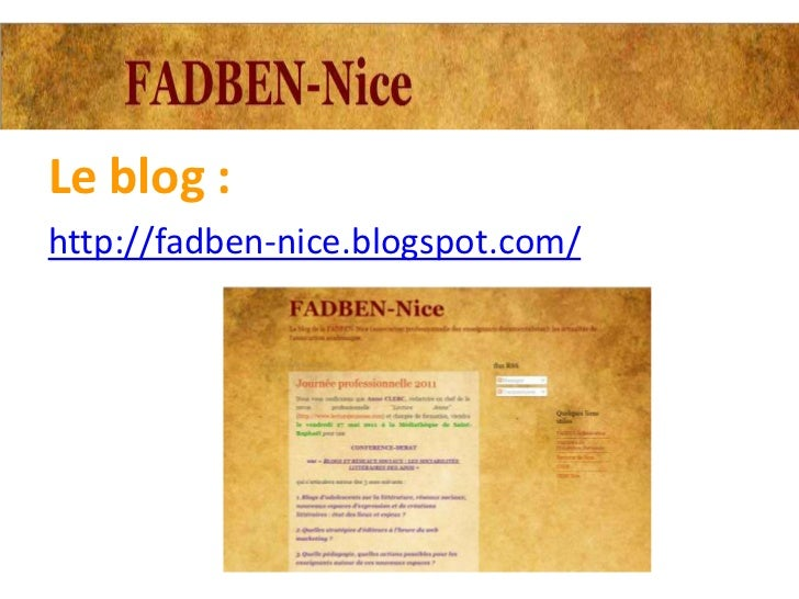 Le blog :http://fadben-nice.blogspot.com/