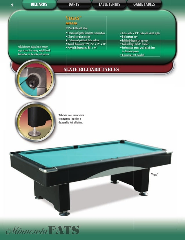 DMI Sports Indoor Games Catalog - 3 1 2 x 7 pool table
