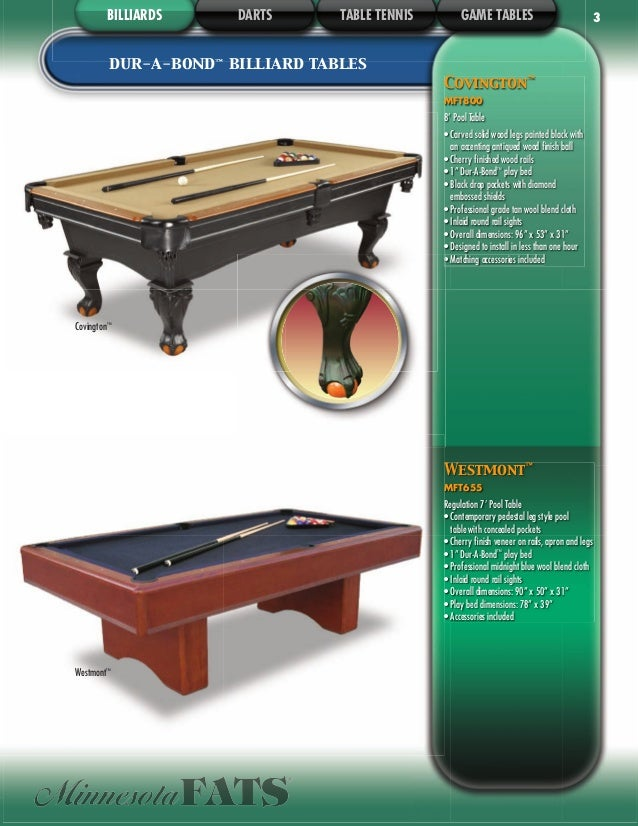 DMI Sports Indoor Games Catalog - Minnesota fats covington billiard table