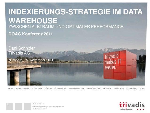 INDEXIERUNGS-STRATEGIE IM DATA  WAREHOUSE  ZWISCHEN ALBTRAUM UND OPTIMALER PERFORMANCE  DOAG Konferenz 2011  Dani Schnider...