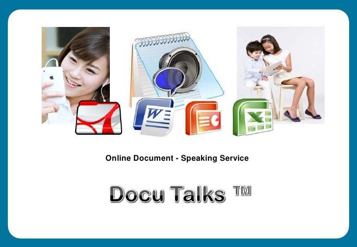 Online Document - Speaking Service<br />Docu Talks ™<br />