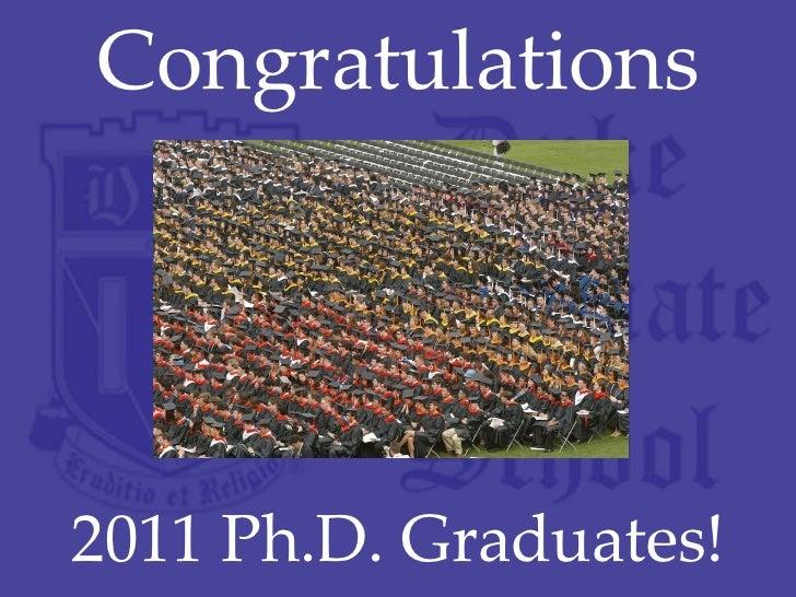 Congratulations 2011 Ph.D. Graduates!