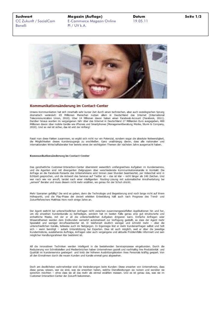 Suchwort                 Magazin (Auflage)           Datum      Seite 1/3CC Zukunft / SocialCom   E-Commerce Magazin Onlin...