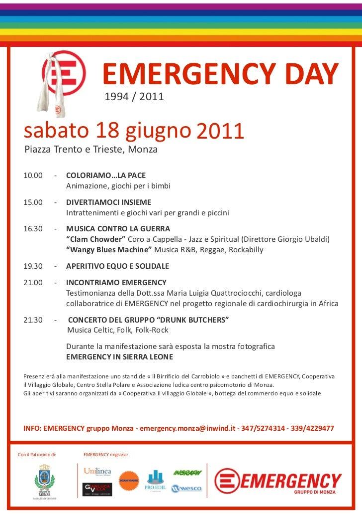 EMERGENCY DAY                                      1994 / 2011  sabato 18 giugno 2011   Piazza Trento e Trieste, Monza  10...