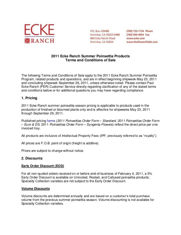 2011 Ecke Ranch Summer Poinsettia Products                               Terms and Conditions of SaleThe following Terms a...