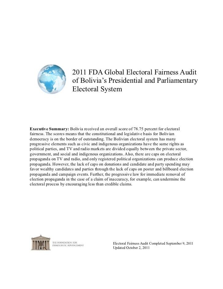 2011 FDA Global Electoral Fairness Audit                        of Bolivia's Presidential and Parliamentary               ...