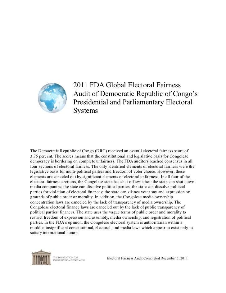 2011 FDA Global Electoral Fairness                         Audit of Democratic Republic of Congo's                        ...