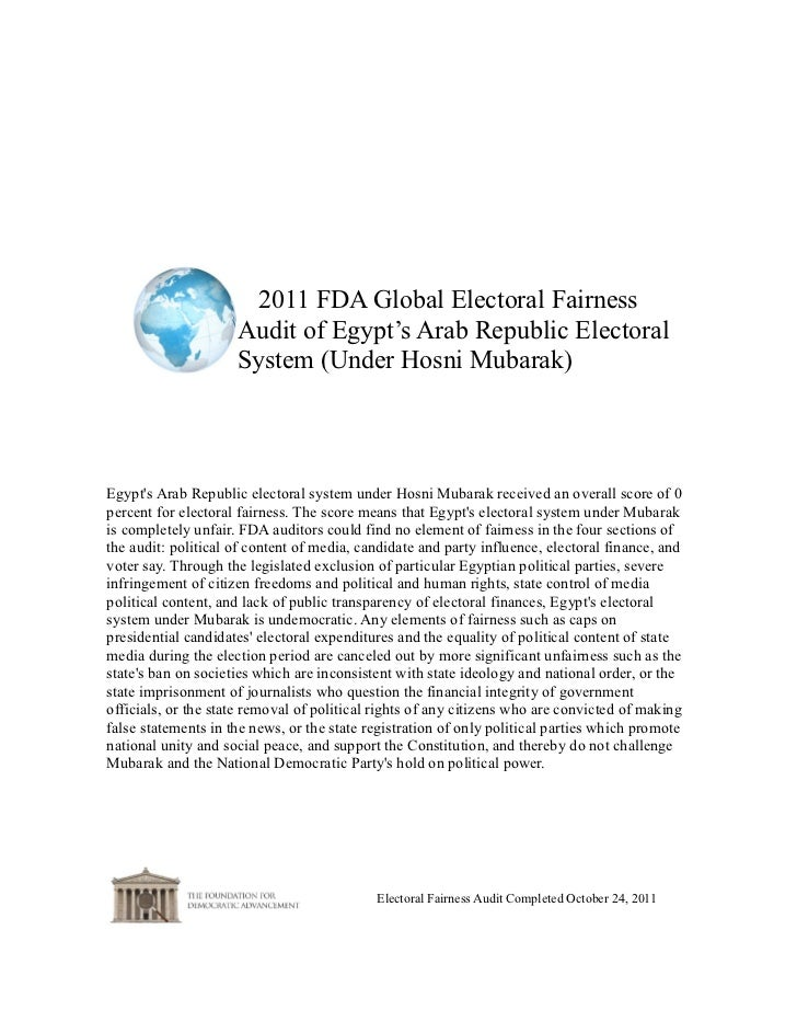 2011 FDA Global Electoral Fairness                     Audit of Egypt's Arab Republic Electoral                     System...