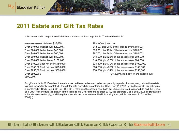 2011 Estate and Gift Tax Rates <ul><li>If the amount with respect to which the tentative tax to be computed is: The tentat...