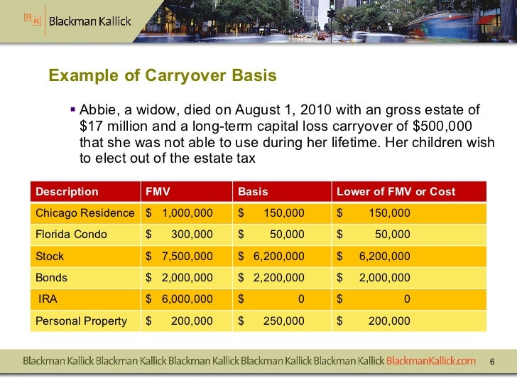 Example of Carryover Basis <ul><li>Abbie, a widow, died on August 1, 2010 with an gross estate of $17 million and a long-t...