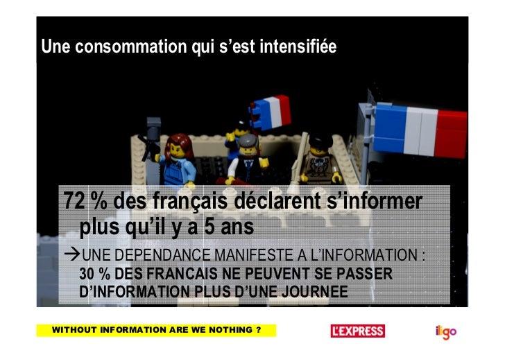 Une consommation qui s'est intensifiée  72 % des français déclarent s'informer   plus qu'il y a 5 ans     UNE DEPENDANCE M...