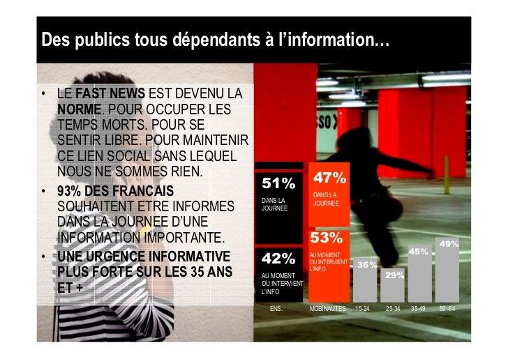 Des publics tous dépendants à l'information…• LE FAST NEWS EST DEVENU LA  NORME. POUR OCCUPER LES  TEMPS MORTS. POUR SE  S...