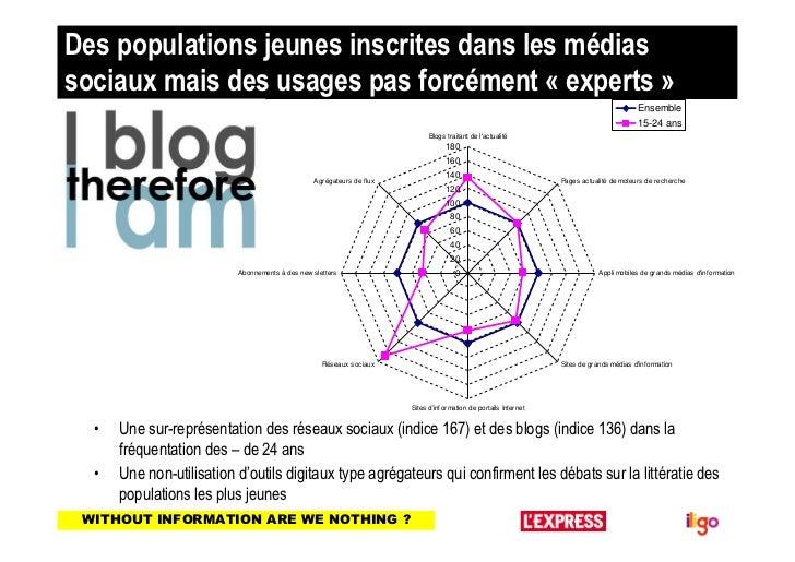 Des populations jeunes inscrites dans les médiassociaux mais des usages pas forcément « experts »                         ...