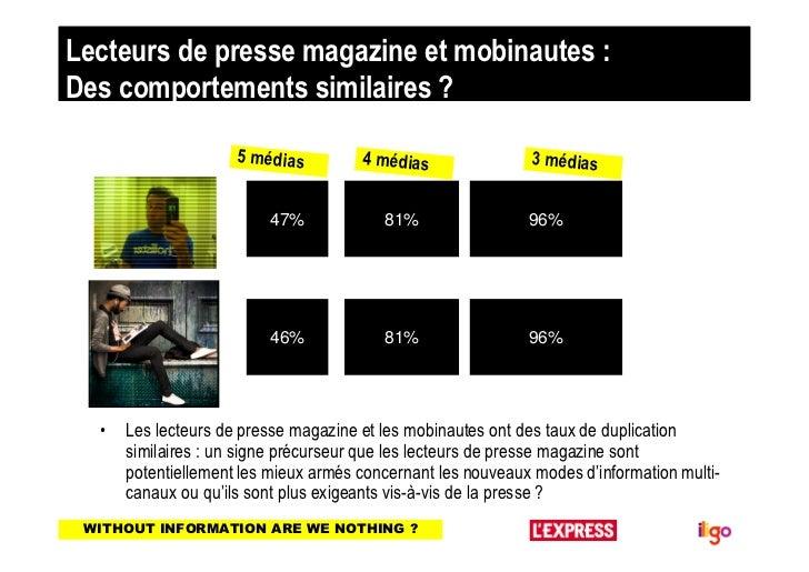 Lecteurs de presse magazine et mobinautes :Des comportements similaires ?                     5 médias         4 médias   ...