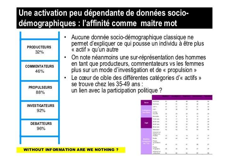 Une activation peu dépendante de données socio-démographiques : l'affinité comme maitre mot                   • Aucune don...