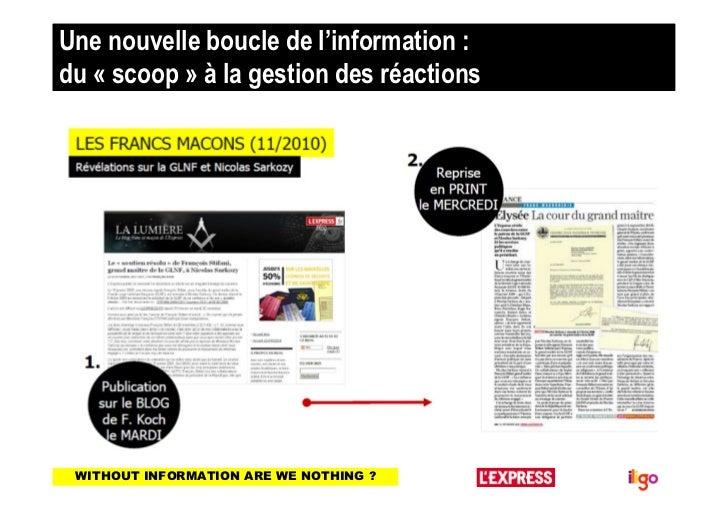 Une nouvelle boucle de l'information :du « scoop » à la gestion des réactions WITHOUT INFORMATION ARE WE NOTHING ?