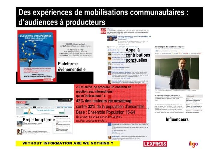 Des expériences de mobilisations communautaires :d'audiences à producteurs                                                ...