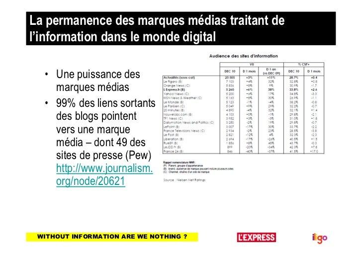 La permanence des marques médias traitant del'information dans le monde digital  • Une puissance des    marques médias  • ...