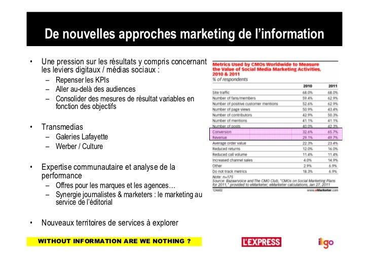 De nouvelles approches marketing de l'information•   Une pression sur les résultats y compris concernant    les leviers di...