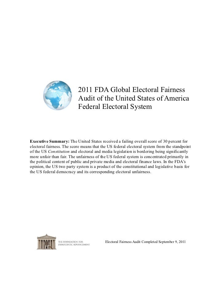 2011 FDA Global Electoral Fairness                           Audit of the United States of America                        ...