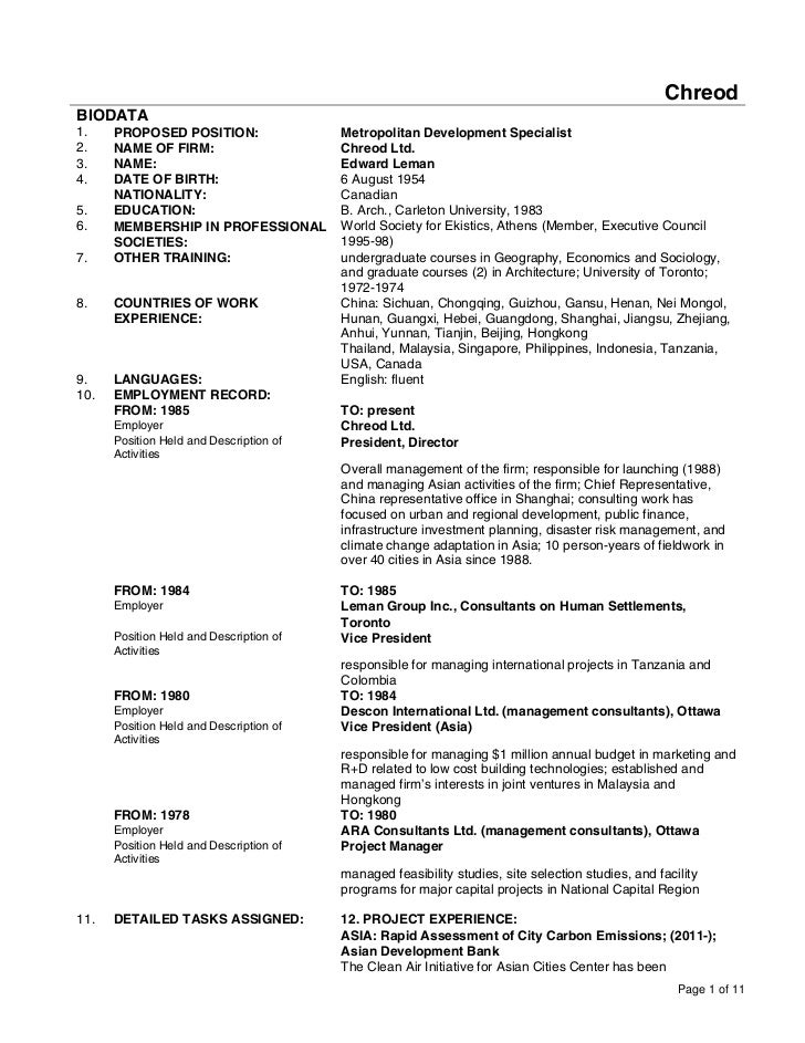 ChreodBIODATA1.    PROPOSED POSITION:                 Metropolitan Development Specialist2.    NAME OF FIRM:              ...