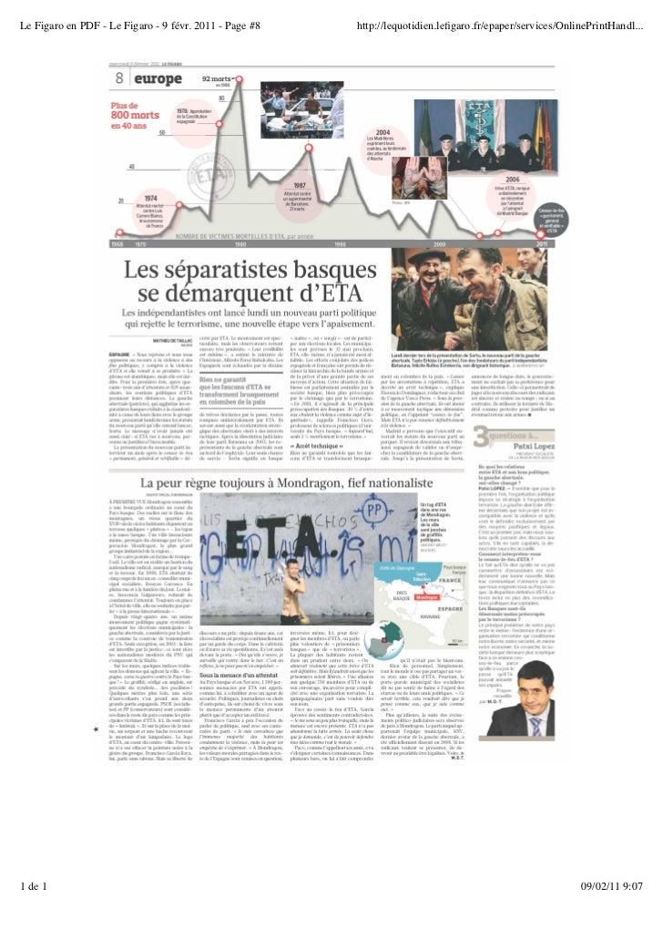 Le Figaro en PDF - Le Figaro - 9 févr. 2011 - Page #8   http://lequotidien.lefigaro.fr/epaper/services/OnlinePrintHandl...1...