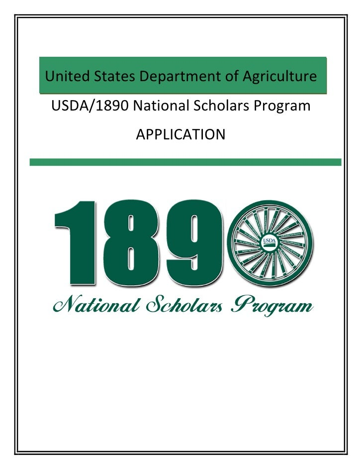 United States Department of Agriculture     USDA/1890 National Scholars Program                   APPLICATION       ...