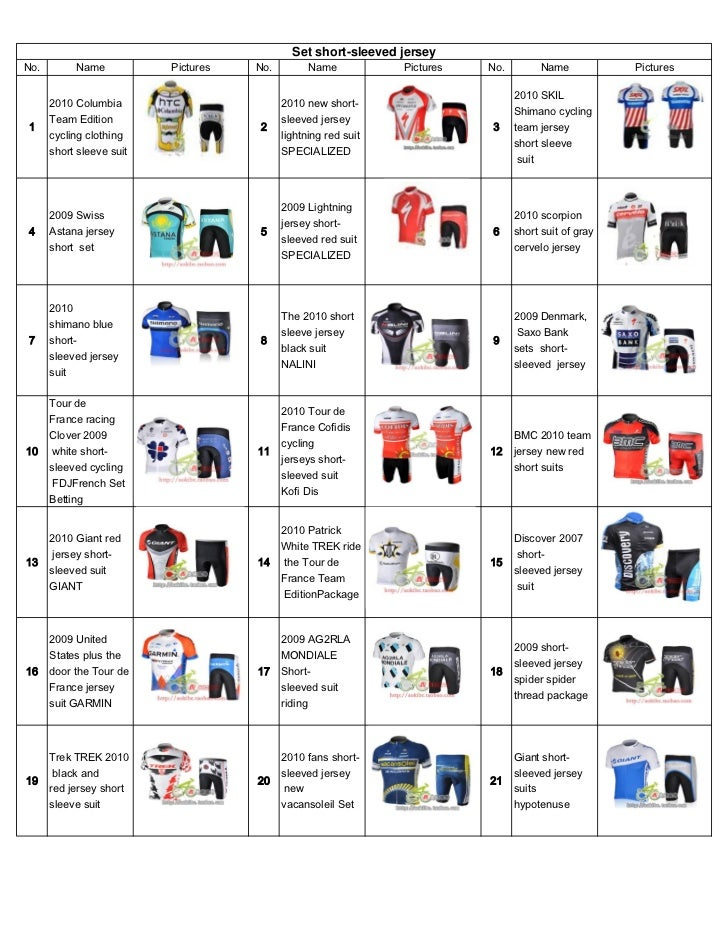 Set short-sleeved jerseyNo.        Name           Pictures   No.         Name           Pictures   No.         Name       ...