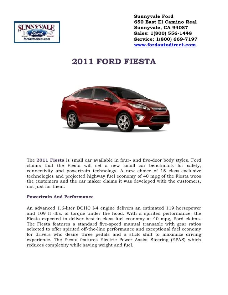 2011 FORD FIESTA<br />The 2011 Fiesta is small car available in four- and five-door body styles. Ford claims that the Fies...