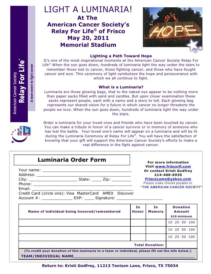 2011 Frisco Relay For Life Luninaria Order Form