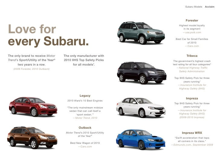 2011 Subaru Full Line Digital Brochure