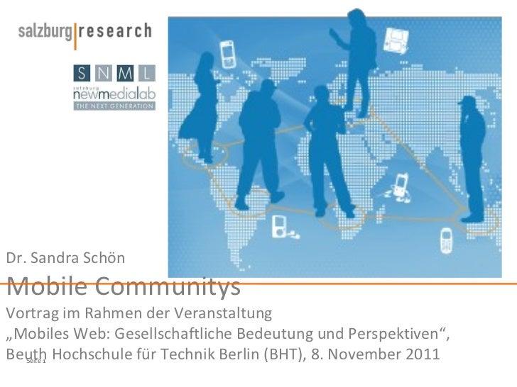 """Dr. Sandra Schön Mobile Communitys Vortrag im Rahmen der Veranstaltung  """"Mobiles Web: Gesellschaftliche Bedeutung und Pers..."""