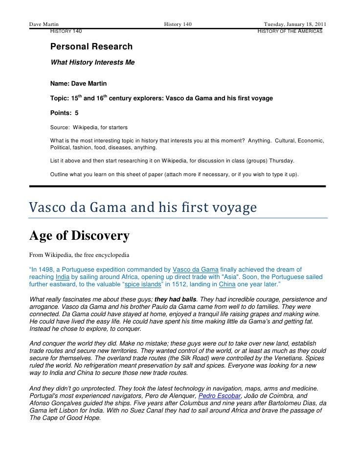 Dave Martin                                           History 140                             Tuesday, January 18, 2011   ...