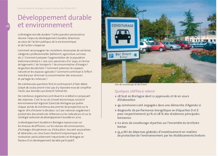 Développement durable et environnement                                              L'environnement en Bretagne, cartes et...