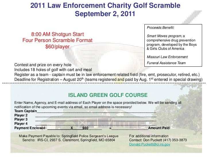 2011 Law Enforcement Charity Golf Scramble                             September 2, 2011                                  ...