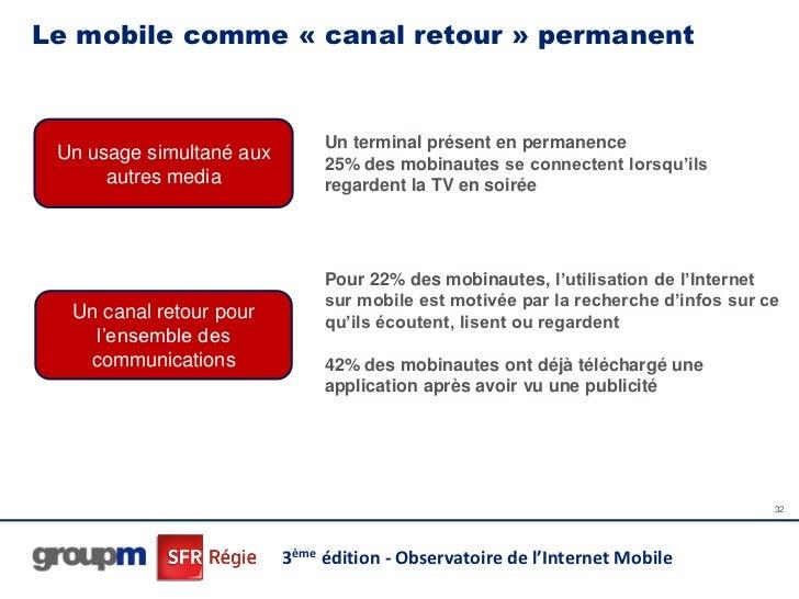 Le mobile comme « canal retour » permanent                               Un terminal présent en permanence Un usage simult...