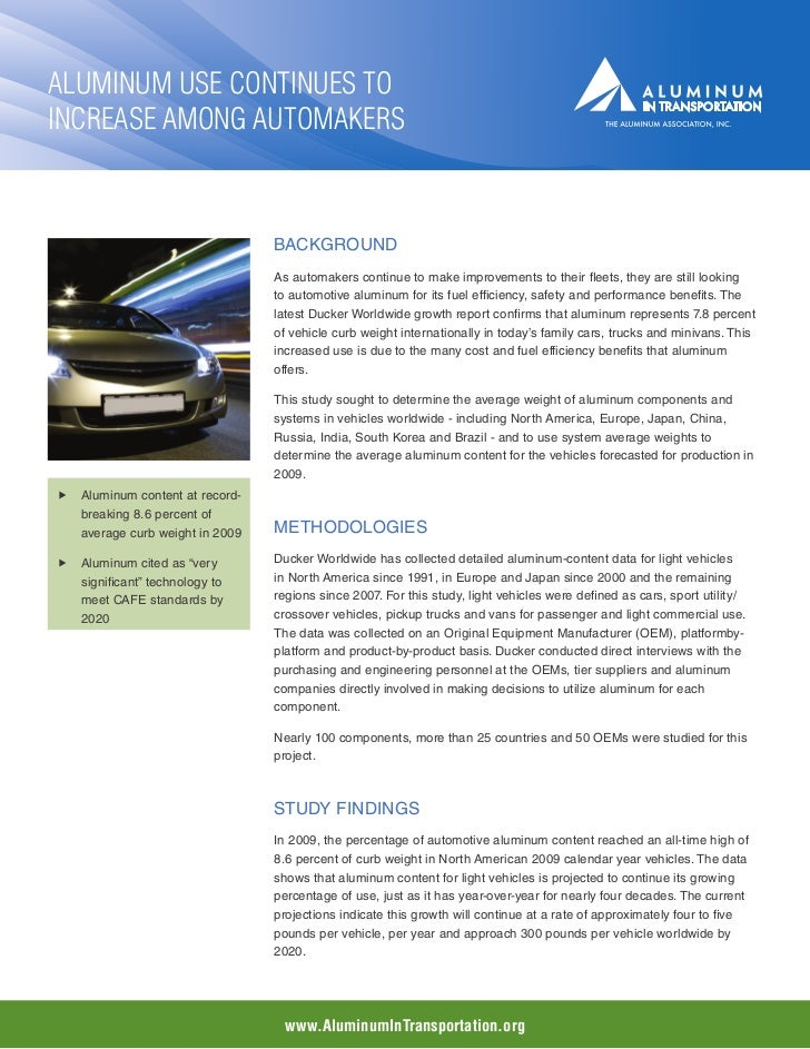 Aluminum Use Continues toIncrease Among Automakers                                 Background                             ...