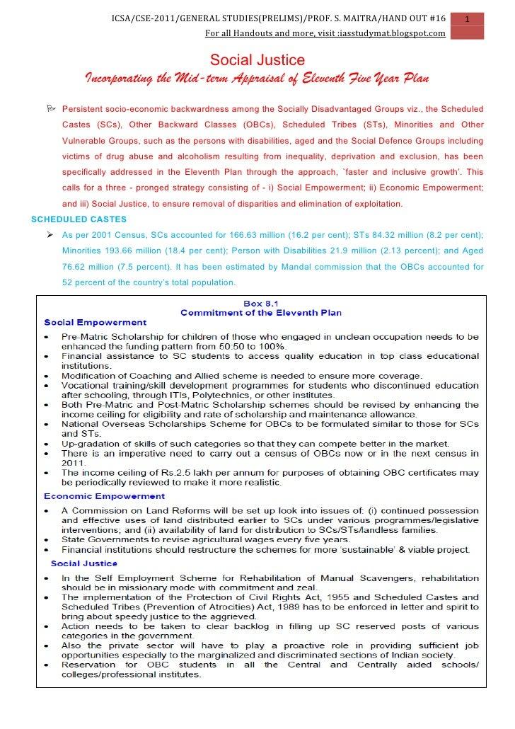 ICSA/CSE-2011/GENERAL STUDIES(PRELIMS)/PROF. S. MAITRA/HAND OUT #16                    1                                  ...