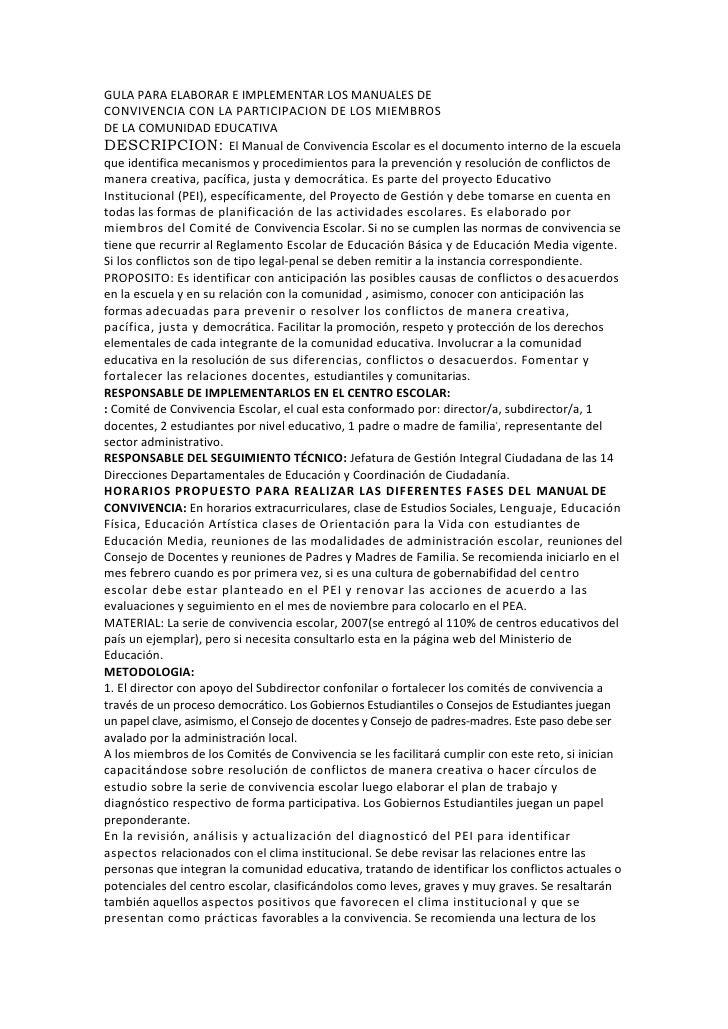 GULA PARA ELABORAR E IMPLEMENTAR LOS MANUALES DECONVIVENCIA CON LA PARTICIPACION DE LOS MIEMBROSDE LA COMUNIDAD EDUCATIVA<...