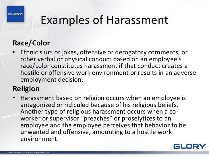 Sexual harassment training scenarios examples