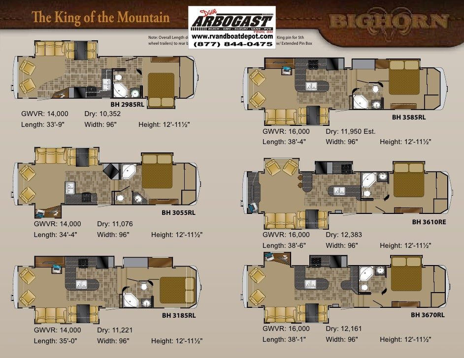 bighorn 5th wheel floor plans