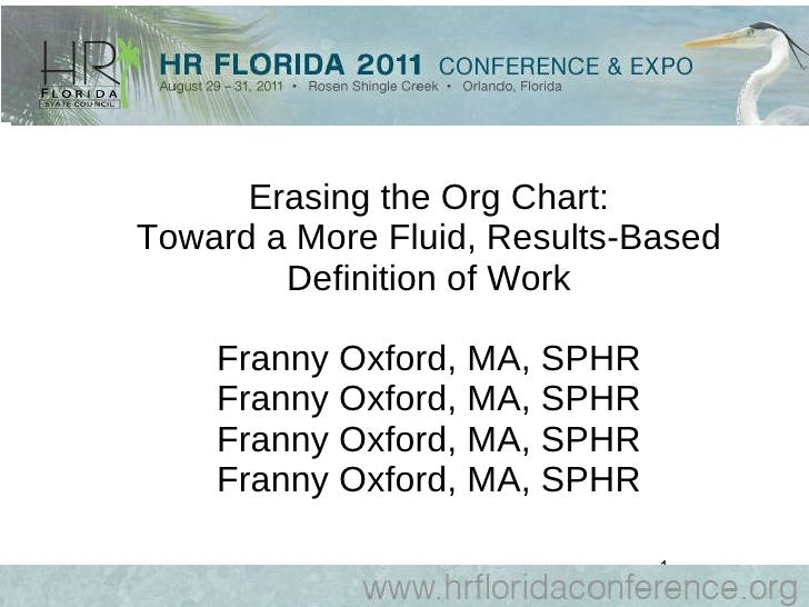 Erasing the Org Chart: Toward a More Fluid, Results-Based Definition of Work Franny Oxford, MA, SPHR Franny Oxford, MA, SP...