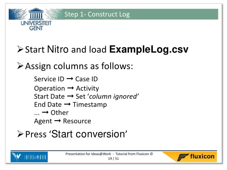 Step 1- Construct LogStart Nitro and load ExampleLog.csvAssign columns as follows:    Service ID ➞ Case ID    Operation ...
